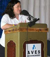 Click for: Catherine Turner speaking at the AVES Awards Ceremony, April 2009 (Photo: AVES) (Click to see the full-sized image, opens in a new window or tab) [Burgh House Training & Development:News Archives]